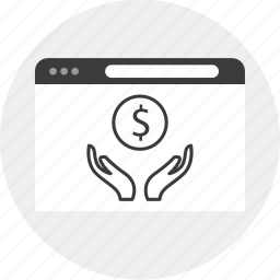 business, growing, hands, money icon