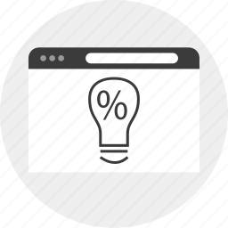 business, idea, lightbulb, percent icon