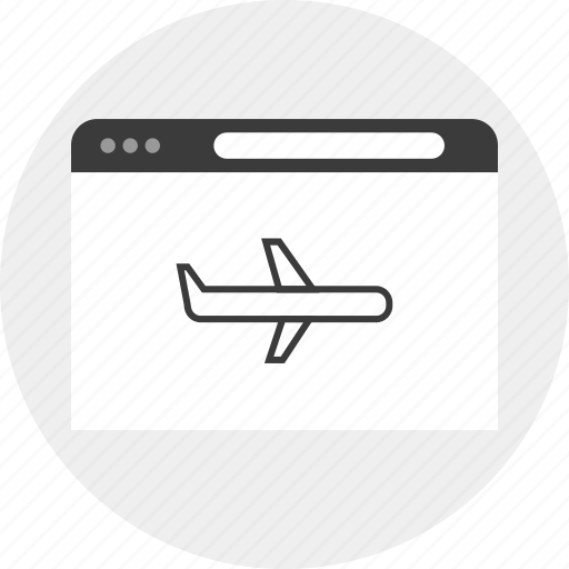 browser, business, plane, travel icon