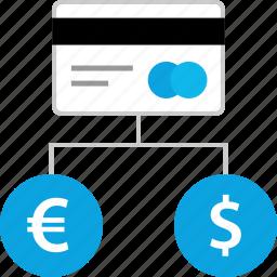 connect, connection, dollar, euro icon