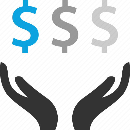 dollar, hand, money, signs icon