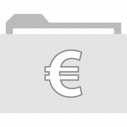 euro, file, folder, sign icon