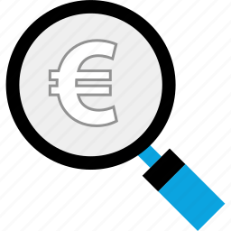 find, glass, magnifying, money icon