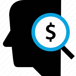 dollar, mind, search, user icon