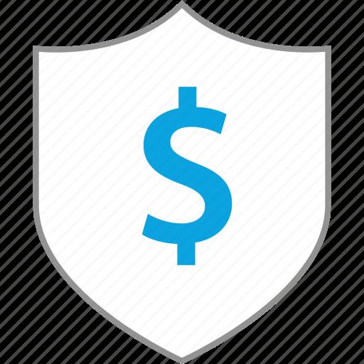 business, dollar, finance, shield icon