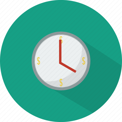 business, clock, finance, shopping, time is money icon