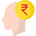 business, crypto, currency, human, rupee icon