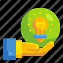 bulb, business, hand, hold, idea, innovation, ownership