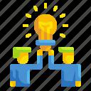 bulb, business, idea, man, partner, team, teamwork icon