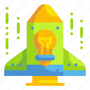 bulb, business, idea, innovation, rocket, spaceship, startup