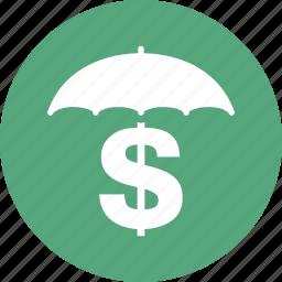 business insurance, money insurance, umbrella icon