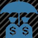 business insurance, investments insurance, money insurance, umbrella icon