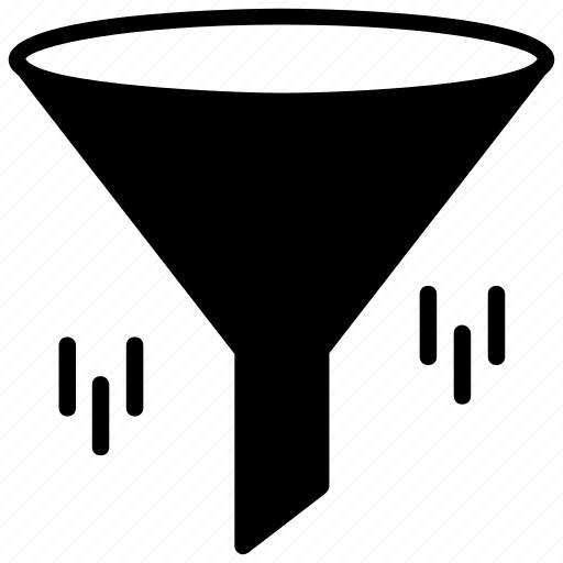 data filtering, data mining, data reduction, filter tunnel, filtration funnel icon