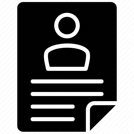biodata, curriculum vitae, employee letter, profile, resume icon