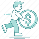 business, coin, dollar, man, management, money, profit, run icon