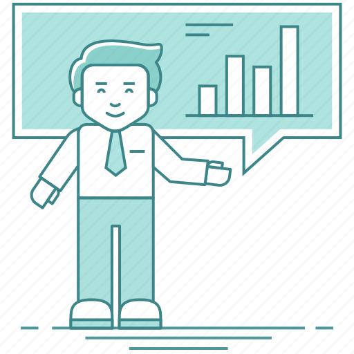 analysis, analyst, analyzer, businessman, graph, presentation, report icon