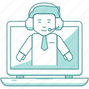 business, consult, consulting, finance, help, laptop, support, video conference icon