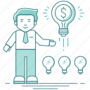 bulb, business idea, character, creative, ideas, innovation, teamwork icon