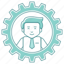 account, business, management, settings, user, work icon