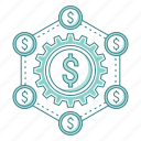 budget, crowdfunding, flow, investment, management, money, network, turnover icon