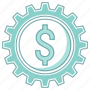 affiliate, business, dollar, gear icon