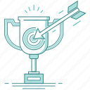 achieved success, aim, arrow, gain goal, gained award, successful businessman, target, trophy