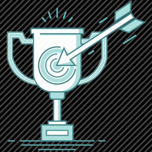 achieved success, aim, arrow, gain goal, gained award, successful businessman, target, trophy icon