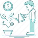 business, care, grow, growth, man, money, money plant, plant, tree icon
