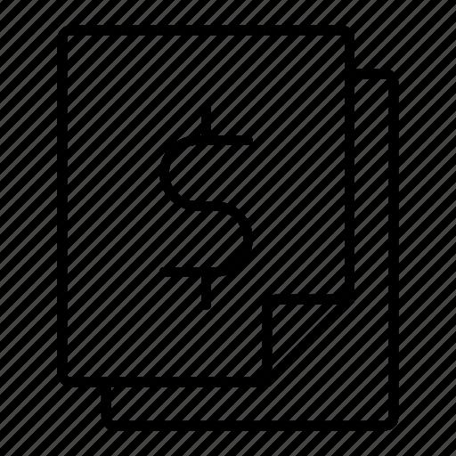 bill, business document, dollar, finance, invoice icon