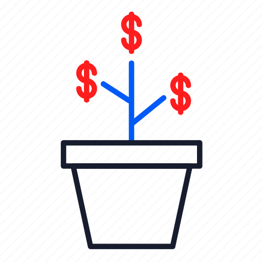 business, finance, growth, investment, money, plant icon