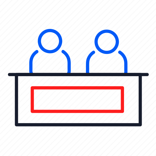 business, cooperation, desk, meeting, people, reception icon