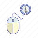 business, dollar, management, mouse icon