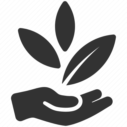 business, hand, leaf, startup icon