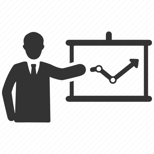 analytics, business growth, graph, presentation icon