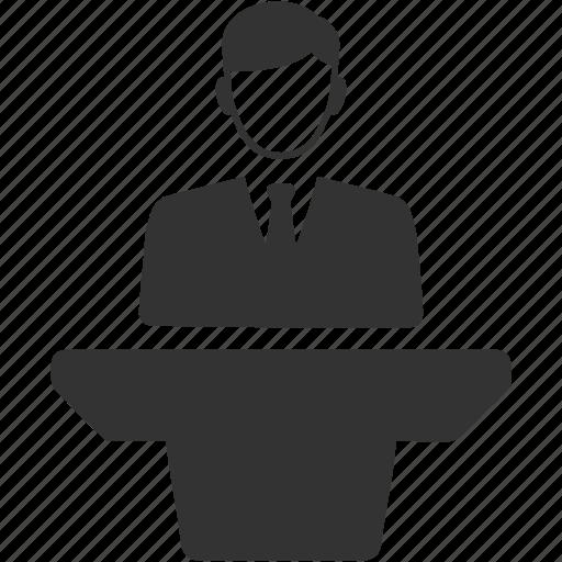 lecture, podium, presentation, speech desk icon