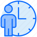 user, clock, person, man, stand