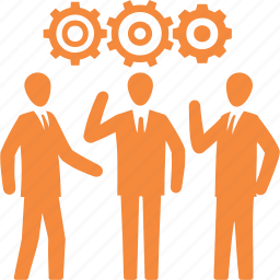 business planning, gear, strategy, teamwork icon