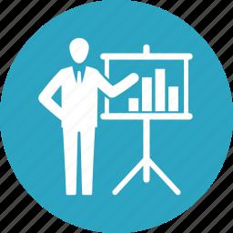 business analytics, graph, presentation, statistics icon