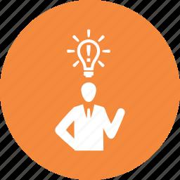 brainstorming, business, business idea, businessman icon