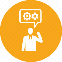 business planning, businessman, gear, solution, strategy icon