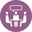 business meeting, conversation, job interview, teamwork icon