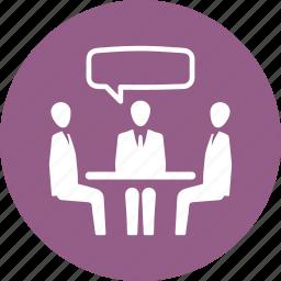 business meeting, conversation, job interview, teamwork icon