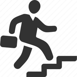 business success, running, stairs, up icon
