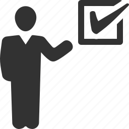 businessman, check mark, completed, tasks icon