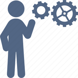 business planning, gear, solution, strategy icon
