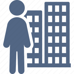 businessman, man, office building icon