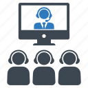 business meeting, conference, teamwork, video call icon