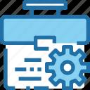 bag, business, case, company, development, gear, management icon