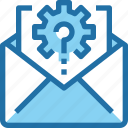 communication, company, email, gear, letter, mail, management icon