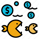 big, business, competition, fish, model, sme, value icon